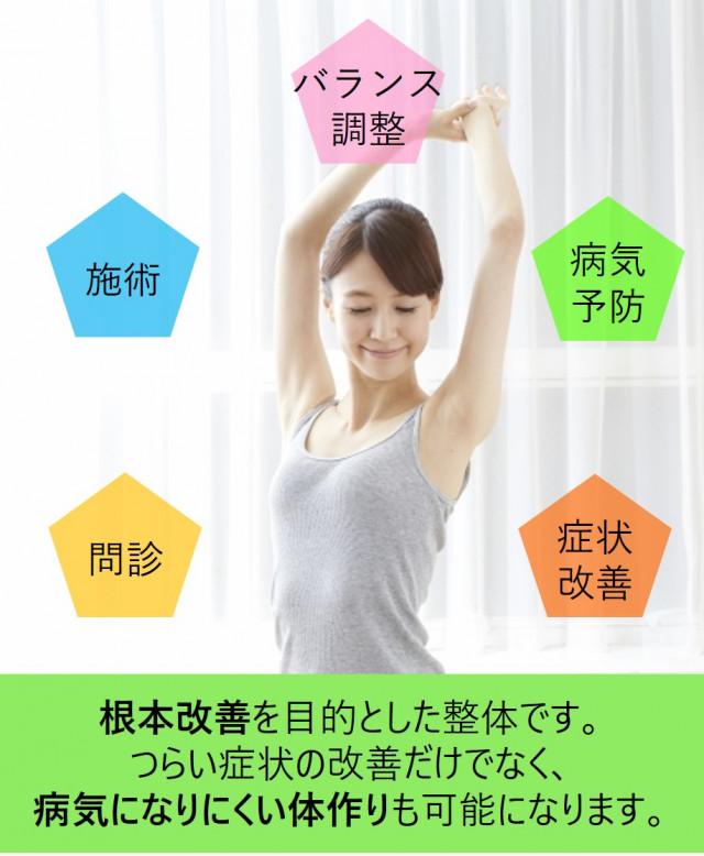 根本改善を目的とした整体です。つらいの症状の改善だけでなく、病気になりにくい体作りも可能になります。